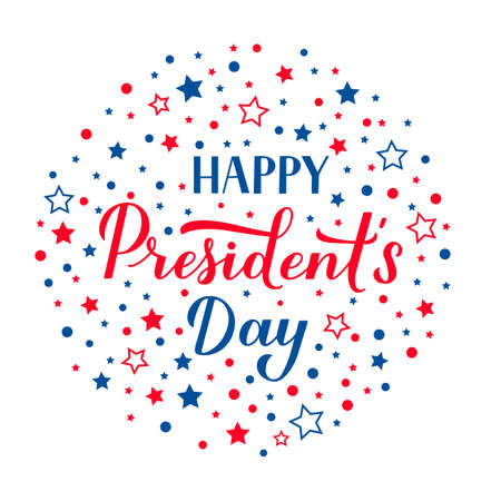 Happy Presidents Day calligraphy lettering with red and blue stars. American patriotic typography poster. Easy to edit vector template for logo design, banner, greeting card, postcard, flyer.