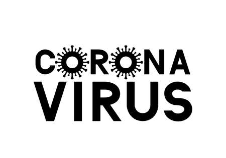 Corona Virus lettering isolated on white background. coronavirus 2019-nCoV typography poster. Easy to edit vector template for banner, flyer, brochure, booklet, etc. Çizim