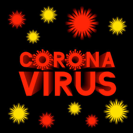 Corona Virus 3d lettering isolated on dark background. coronavirus 2019-nCoV typography poster. Easy to edit vector template for banner, flyer, brochure, booklet, etc.