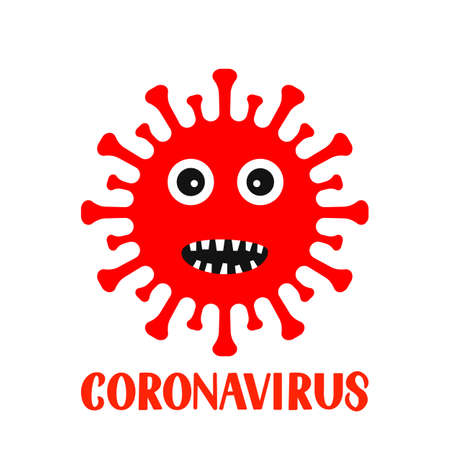 Corona Virus cartoon character and lettering isolated on white background. Vector template for typography poster, banner, flyer, etc.