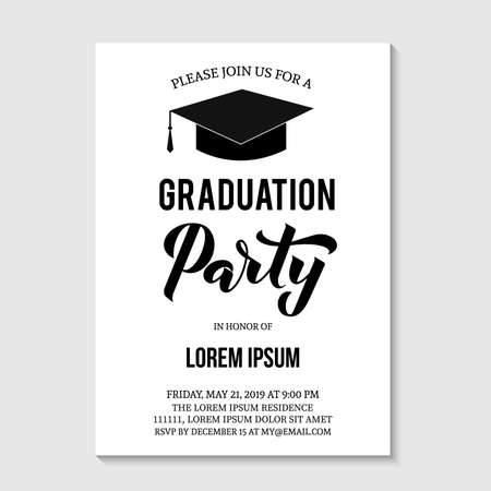 Graduation party invitation card template. Black and white grad party invite. Graduation celebration announcement. Vector illustration.