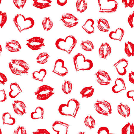 Seamless pattern red lipstick kisses and hearts on white background. Lips prints vector illustration. Perfect for Valentines day greeting card, textile design, wrapping paper, cosmetics package, etc.