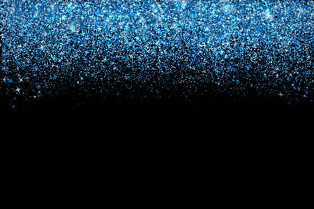 Confetti in shades of Classic Blue border isolated on black. Falling sparkles dots. Shiny dust vector background. The color of 2020 year. Shades of blue glitter texture effect. Easy to edit template. Çizim