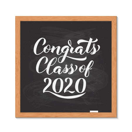 Congrats Class of 2020 hand written on chalkboard with wooden frame. Congratulations to graduates typography poster. Vector template for greeting card, banner, sticker, label, t-shirt, etc.