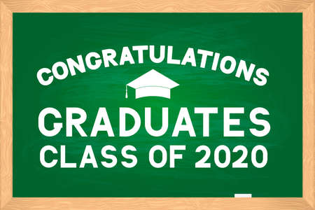 Congratulations to graduates class of 2020 lettering on green chalkboard with wooden frame. Easy to edit vector template for typography poster, greeting card, banner, sticker, label, t-shirt, etc.
