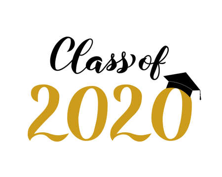 Class of 2020 lettering with graduation hat isolated on white. Congratulations to graduates typography poster. Easy to edit vector template for greeting card, banner, sticker, label, t-shirt, etc.