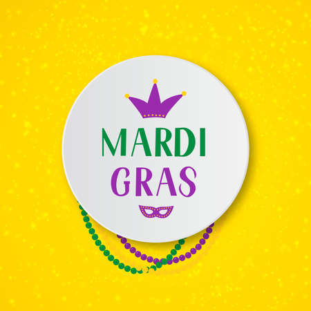 Mardi Gras hand lettering with colorful beads, mask and crown on yellow background. Fat Tuesday traditional carnival in New Orleans. Vector element of design for banner, flyer, party invitation, etc.