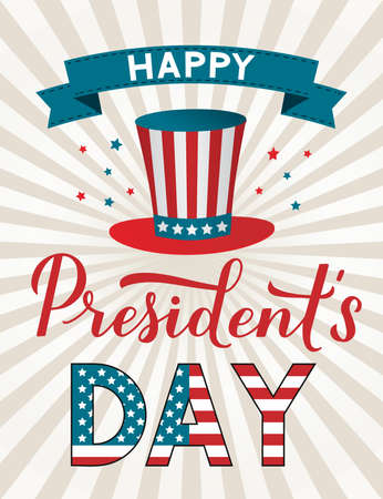 Happy Presidents Day calligraphy hand lettering. American retro patriotic striped background with Uncle s Sam hat. Easy to edit vector template for logo design, banner, greeting card, postcard, flyer