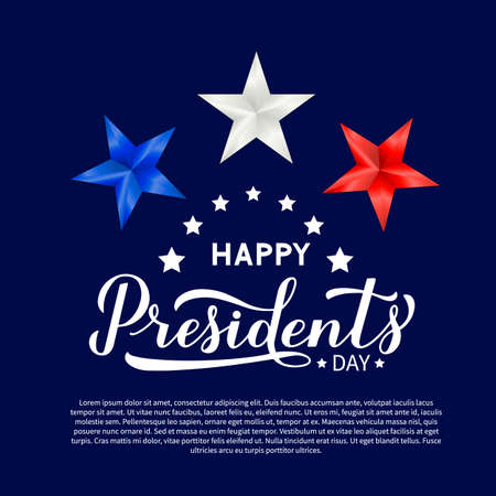 Happy Presidents Day calligraphy lettering with red, blue and white 3d stars. American patriotic typography poster. Easy to edit vector template for logo design, banner, greeting card, postcard, flyer
