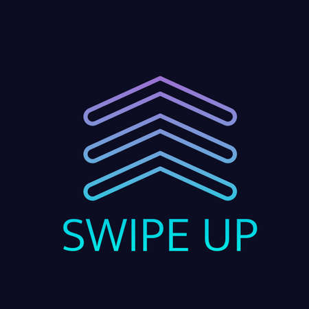 Swipe Up blue purple gradient neon arrow button isolated on dark background. Icon or sticker for social media applications or websites. Call for action. Easy to edit vector template.  Illusztráció