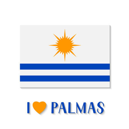 Flag of Palmas and lettering with heart. The capital of Tocantins state in Brazil . Vector template for banner, typography poster, logo design, postcard, t-shirt, flyer, sticker, label, etc. Çizim