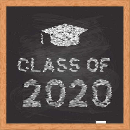 Class of 2020 written on chalkboard with wooden frame. Congratulations to graduates vector illustration. Template for typography poster, greeting card, banner, sticker, label, t-shirt, etc.
