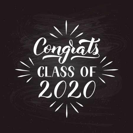 Congrats Class of 2020 hand written on chalkboard Çizim