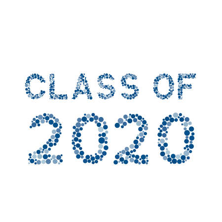 Class of 2020 lettering made of blue dots isolated on white.