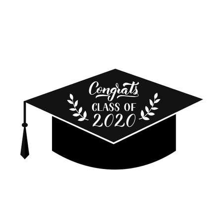 Congrats Class of 2020 hand written on graduation hat.