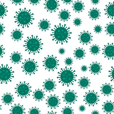 Corona Virus seamless pattern on white
