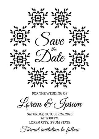 Save the date card template. Black and white wedding invitation.