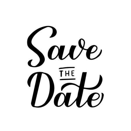 Save the date calligraphy hand lettering isolated on white. Vettoriali