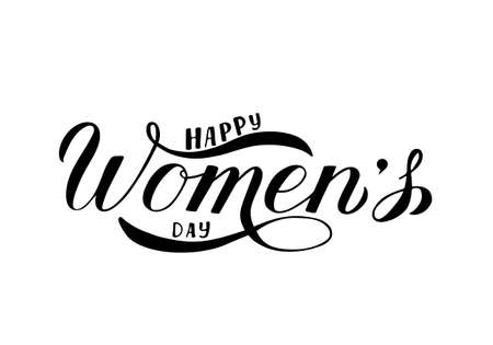 Happy Women s Day calligraphy hand lettering isolated on white.