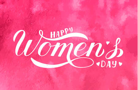 Happy Womens Day calligraphy hand lettering on pink watercolor Çizim