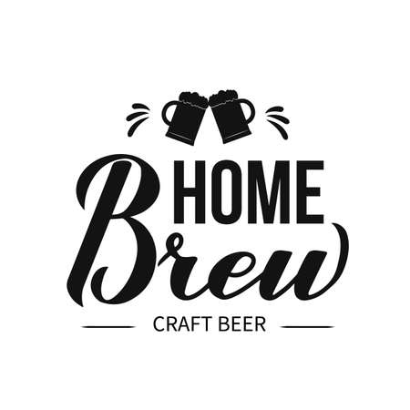 Home Brew calligraphy hand lettering isolated on white background. Easy to edit vector template for bar, pub, brewing company logo design, banner, poster, flyer, badge, sticker, emblem, etc. Çizim