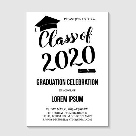 Graduation party invitation card template. Black and white grad party invite. Graduation celebration announcement. Class of 2020 vector illustration.