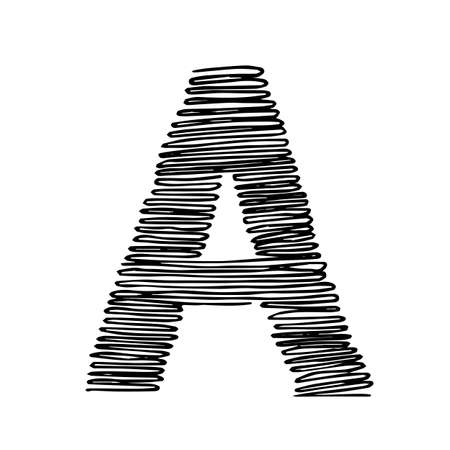 Hand drawn letter A. Sketched letter with decorative elements. Easy to edit vector template for your designs.