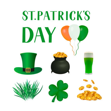 St. Patrick s day traditional symbols Leprechaun s hat, leaf of shamrock, pot of treasure, gold coins, glass of beer. Vector elements for Saint Patricks day greeting card, banner, poster, flyer, etc.
