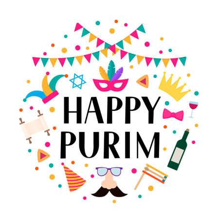 Happy Purim circle label with lettering, props and traditional Jewish symbols hamantaschen cookies, noisemaker, megillah esther, wine, masque, crown. Carnival vector illustration.