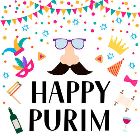 Happy Purim lettering, props and Jewish symbols hamantaschen cookies, noisemaker, megillah esther, wine, masque, crown. Traditional Carnival in Israel vector illustration. Çizim