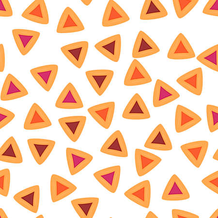Hamantaschen seamless pattern. Traditional jewish sweets Hamantaschen cookies. Carnival in Israel Purim vector background illustration.