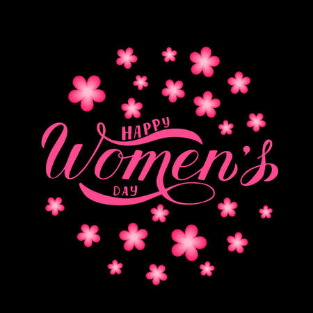 Happy Womens Day calligraphy hand lettering surrounded by spring flowers on a black background. Vector template for International womans day party invitation poster, greeting card, flyer, etc. Çizim