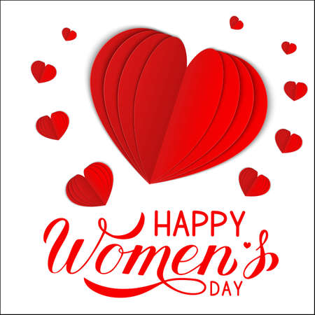 Happy Women s Day calligraphy hand lettering with red paper cut hearts isolated on white. International woman s day greeting card. Easy to edit template for party invitation, poster, flyer, etc.