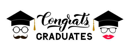 Congrats graduates lettering with photo booth props graduation cap, lips, mustache, glasses. Vector template for party invitation, greeting card, typography poster, banner, sticker, label, etc. Çizim