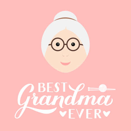 Best Grandma Ever calligraphy hand lettering on pink background. Grandparents Day greeting card for grandmother. Easy to edit vector template for banner, poster, postcard, t-shirt, mug, pillow, etc. Çizim