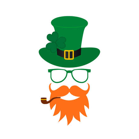 St. Patrick s day Leprechaun cartoon icon with green hat, mustache, red beard, pipe and leaf of shamrock or clover isolated on white. Template for Patricks day greeting card banner, poster, flyer, etc