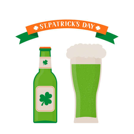 Glass and bottle of green beer isolated on white. St. Patrick s day flat vector icons. Vector element of design for your brewery logo design, poster, banner, flyer, t-shirt, bar or pub menu, etc.
