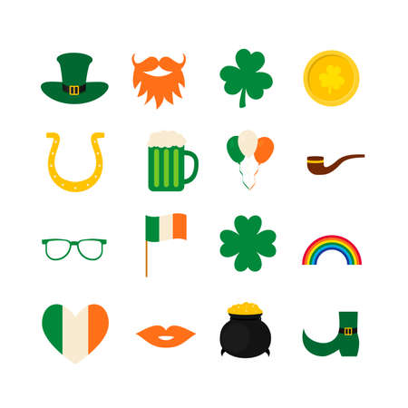 St. Patrick s day symbol icons and photo booth props set green hat, shamrock, treasure of leprechaun, mustache, beard, pipe, etc. Vector element of design for greeting card, banner, poster, sticker.