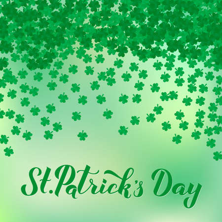 St. Patrick s day calligraphy hand lettering with on green background with falling shamrock leaves. Saint Patricks day banner. Vector template for greeting card, poster, flyer, postcard, etc. Çizim