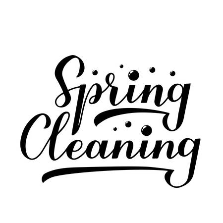 Spring cleaning calligraphy hand lettering isolated on white. Easy to edit vector template for logo design, typography poster, banner, flyer, etc. Çizim