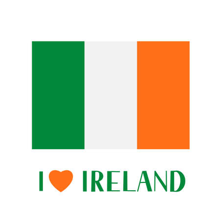 Flag of Ireland and lettering I Love Ireland with heart isolated of white. Easy to edit vector template for banner, typography poster, logo design, postcard, t-shirt, flyer, sticker, label, etc. Illusztráció