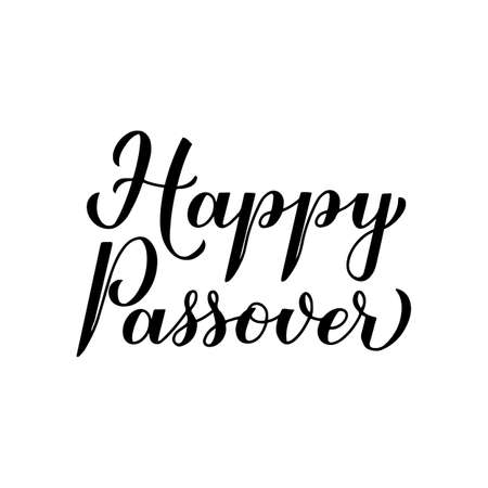 Happy Passover calligraphy hand lettering isolated on white. Jewish holiday Easter. Easy to edit vector template for typography poster, greeting card, banner, invitation, postcard, flyer, sticker, etc Çizim