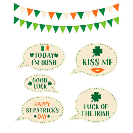 Patrick s day speech bubbles and flags. Vector template for Saint Patricks day greeting card, banner, poster, flyer, postcard, t-shirt. Ilustração