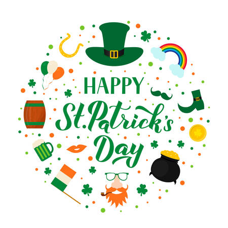 Happy St. Patrick s day lettering with traditional Irish symbols green hat, leaf of shamrock, Leprechaun, pot of treasure, gold coins, horseshoe, mug of beer. Vector illustration. Ilustração