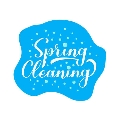 Spring cleaning calligraphy hand lettering with soap bubbles. Easy to edit vector template for logo design, typography poster, banner, flyer, etc. Çizim