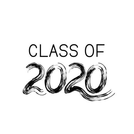 Class of 2020 lettering with dry brush stroke isolated on white. Congratulations to graduates typography poster. Easy to edit vector template for greeting card, banner, sticker, label, t-shirt, etc.