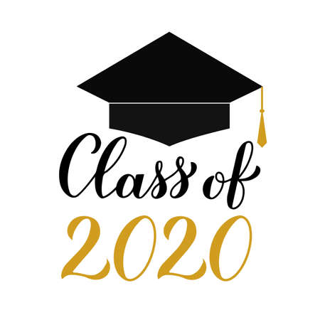 Class of 2020 modern calligraphy lettering with graduation cap. Congratulations to graduates typography poster. Easy to edit vector template for greeting card, banner, sticker, label, t-shirt, etc.