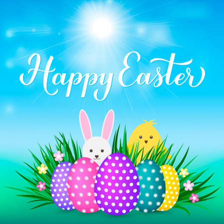 Happy Easter calligraphy hand lettering. Easter eggs on grass, cute cartoon bunny and chicken. Easy to edit vector template for party invitation, typography poster, greeting card, banner, etc.