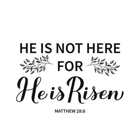 He is risen calligraphy hand lettering. Bible Quote Matthew 28 6 typography poster. Easy to edit vector template for Easter greeting card, banner, sticker, etc.