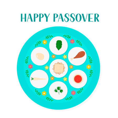 Passover ceder plate with traditional food isolated on white. Jewish holiday Easter. Easy to edit vector template for poster, greeting card, banner, invitation, postcard, flyer, sticker, etc. Illustration